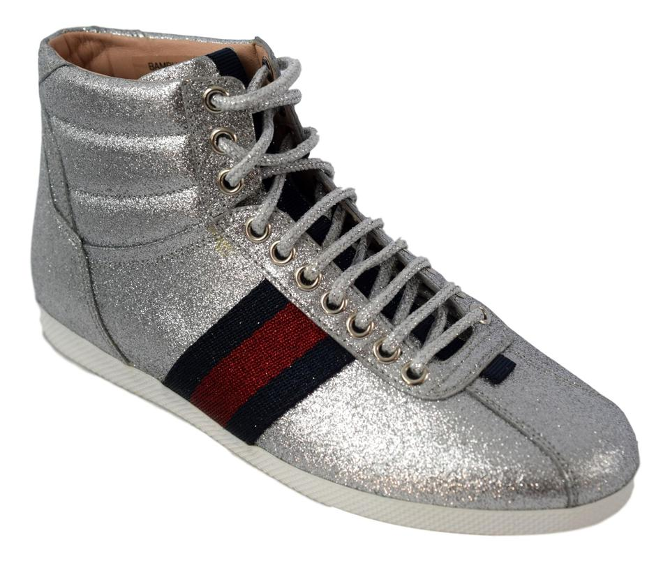 6762e858839 Gucci Silver Red and Blue 431925 Glitter Web High Top Women Sneakers ...
