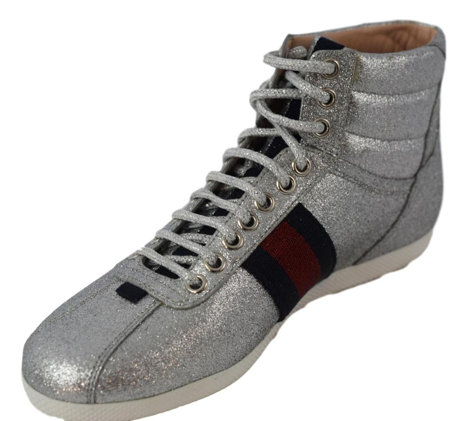 3d7f6e73bbd7 Gucci Silver Red and Blue 431925 Glitter Web High Top Women Sneakers ...