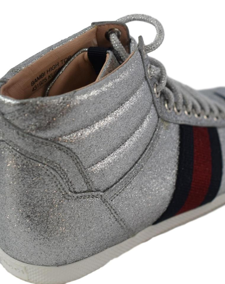 ae8ea10f8 Gucci High Tops Tennis Glitter Silver, red and blue Athletic Image 11.  123456789101112