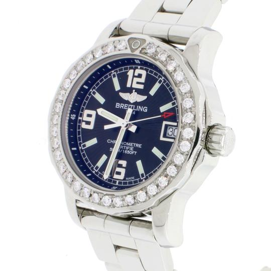 Breitling Colt 33 Black Dial Ladies A77387 Box&Papers w/1.0Ct Diamond Bezel