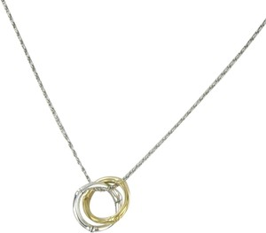 John Hardy Bamboo Necklace 2 Circles 18K Yellow Gold Sterling Silver 16""