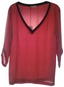 ONE by Contrarian Pink Silk V-neck Tunic