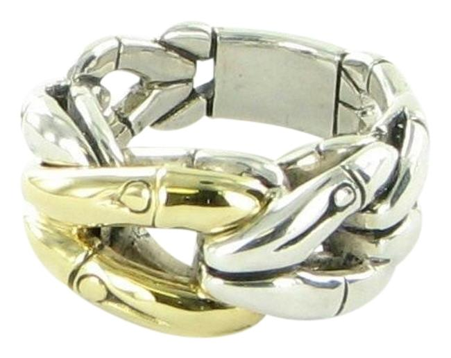 Item - 18k Yellow Gold Sterling Silver Bamboo Link Band Ring