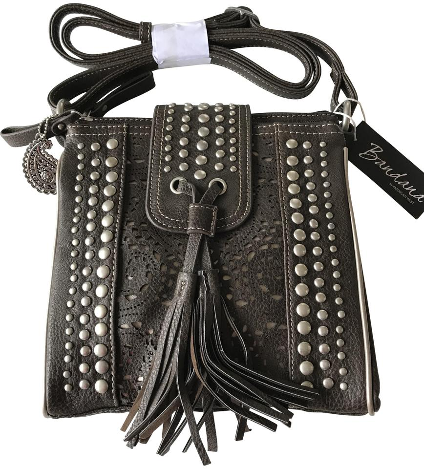 American West Organized Chocolate Faux Leather Cross Body Bag 46 Off Retail