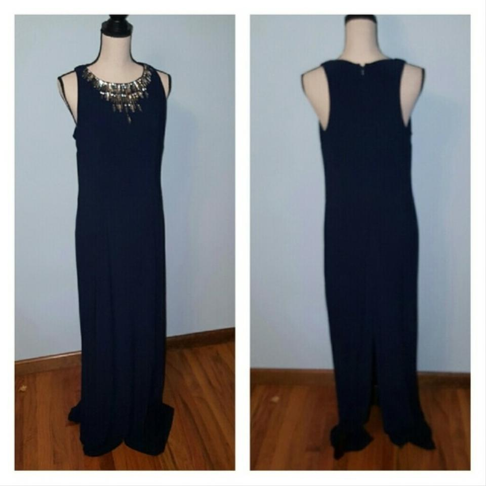Vince Camuto Navy Elegant Long Formal Dress Size 12 (L) - Tradesy