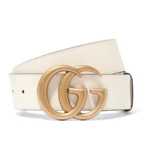 "615397a28cf Gucci White Marmont 85 34 1.5""double Gg Buckle Leather Buckle Belt ..."