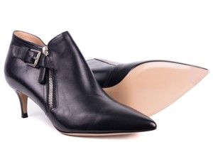 12ca659cec5 Gianvito Rossi Black Leather Silver Accent Kitten Heel Ankle Boots Booties