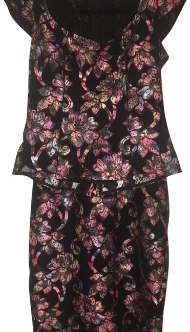 Item - Black Pink Teal Orange Blue Yellow White Embroidered Floral 2-piece Skirt Suit Size 6 (S)