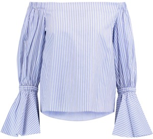 2253f111bb3a7 Alexis Off The Shoulder Bell Cuff Top Blue   White Striped