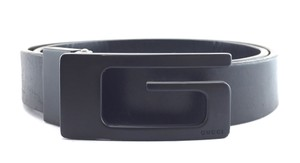 Gucci Rare GG logo black buckle leather Belt