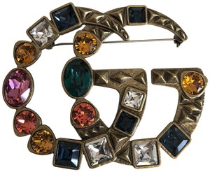 Gucci Gucci Crystal Double G brooch