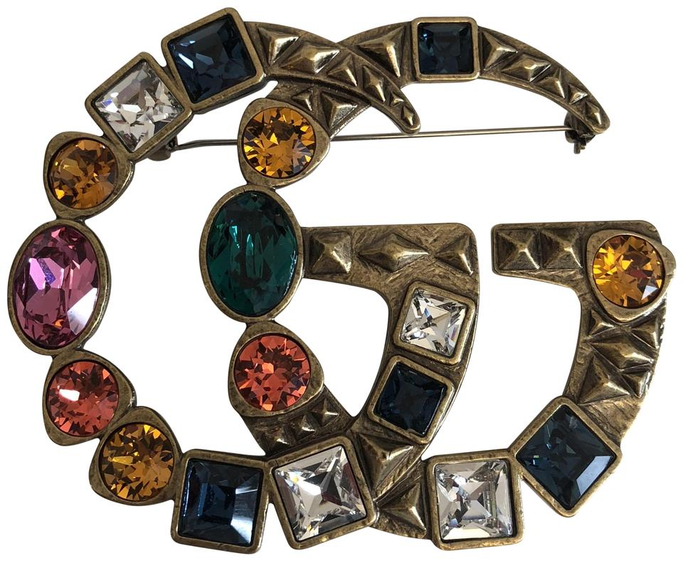 Gucci Gold Crystal Double G Brooch