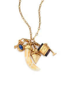 "Tory Burch NEW Tory Burch Necklace Lucky Superstitious 36"" 16k Gold Charms"