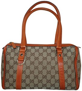 Gucci Abbey Canvas Leather Made In Italy Satchel in Orange