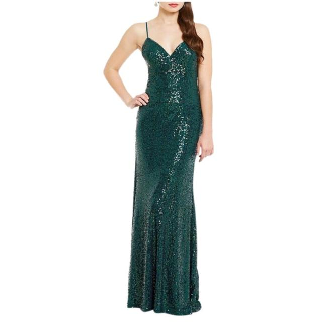 Nicole Miller Emerald Sequin Gown Long Formal Dress Size 10 (M ...