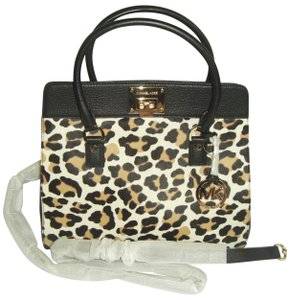 d2c3c84e59c9 Michael Kors Large Haircalf Black and Leopard Leather Calfhair Satchel