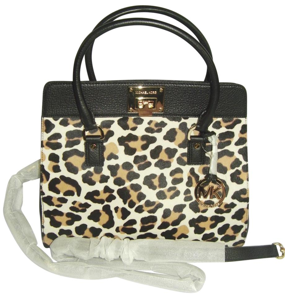 e7f066fd0c0f58 Michael Kors Large Haircalf Black and Leopard Leather Calfhair ...