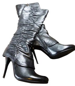Romana Ricci Leather Stiletto Tall Black Boots