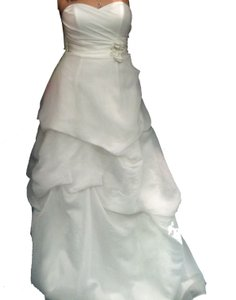 Galina White Davids Bridal Organza Pk3226 Feminine Wedding Dress Size 10 (M)