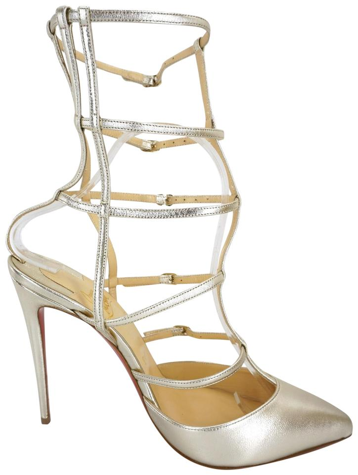 501bcbfab817 Christian Louboutin Gladiator Pointed Toe Red Bottom Ankle Metallic Gold  Sandals Image 0 ...