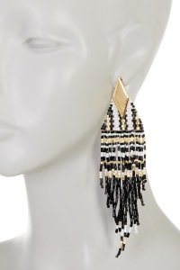 Free Press Free Press Oversized Diamond-Shaped Seed Bead Fringe Earrings