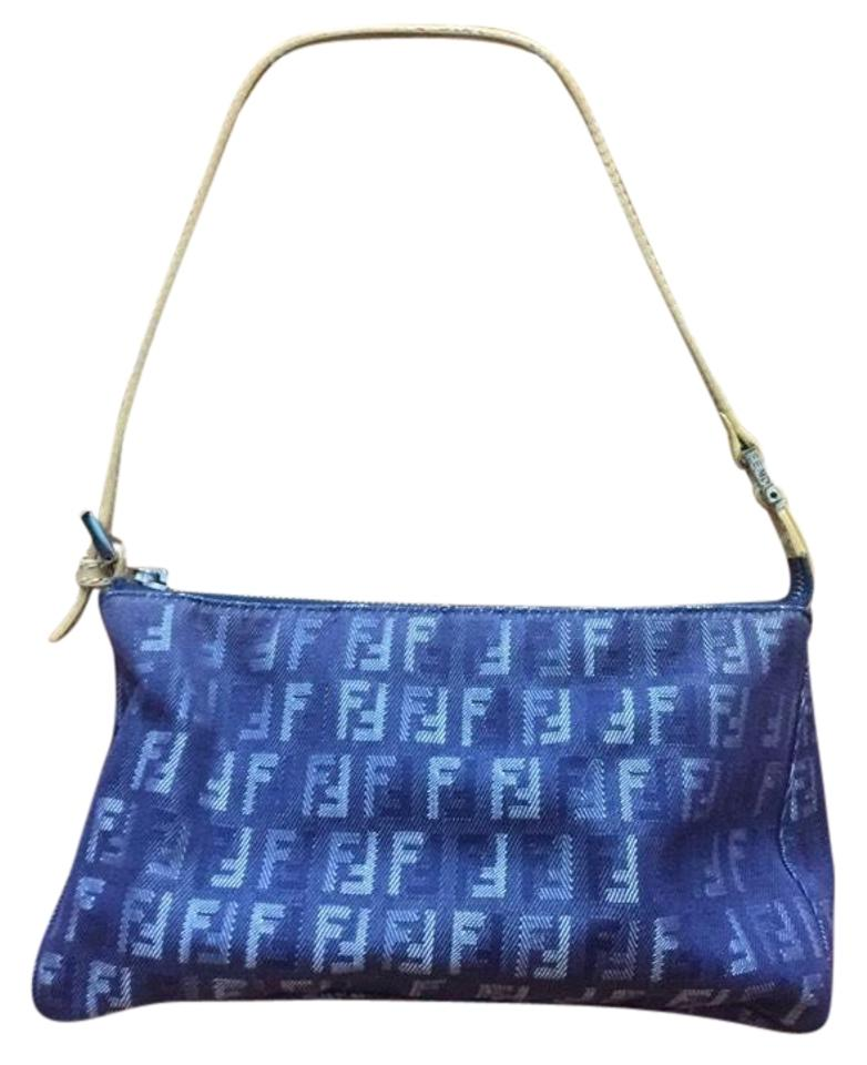 2ba204b9f92e Fendi Denim Blue Canvas Shoulder Bag - Tradesy