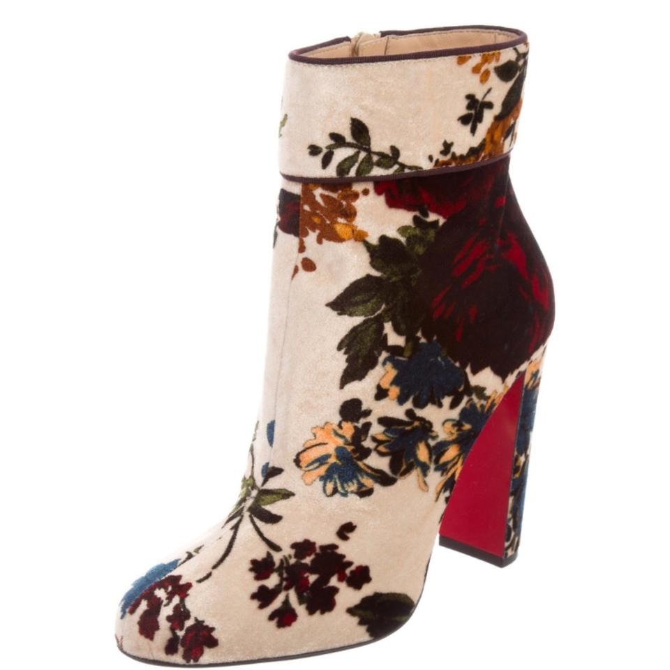 quality design 91ec7 39e21 Christian Louboutin Beige and Multicolored Floral Moulamax Velvet 100mm Red  Sole Boots/Booties Size US 6 Regular (M, B) 36% off retail