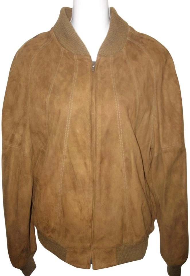 Brown Men S Leather Suede Zip Front Bomber Jacket Size 12 L Tradesy