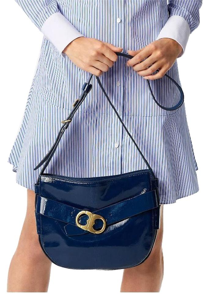 5285e9eeaec Tory Burch Gemini Link Midnight Swim Patent Leather Cross Body Bag ...