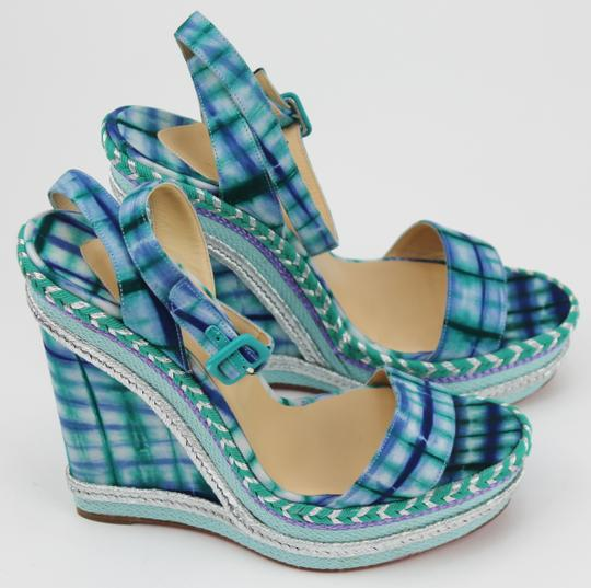 Christian Louboutin Bazin Blue and Black Wedges