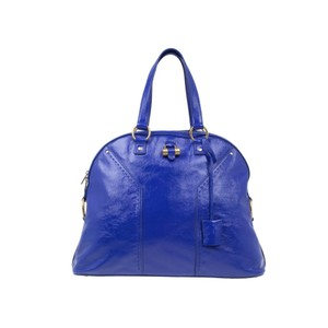 Saint Laurent Patent Leather Oversize Tote in Blue