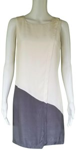 Julie Brown JULIE BROWN Ivory Gray Silk Dress 4 Cross Over