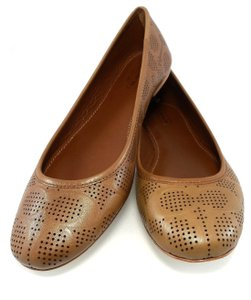 Coach Leather Ballet Perforated Brown Flats