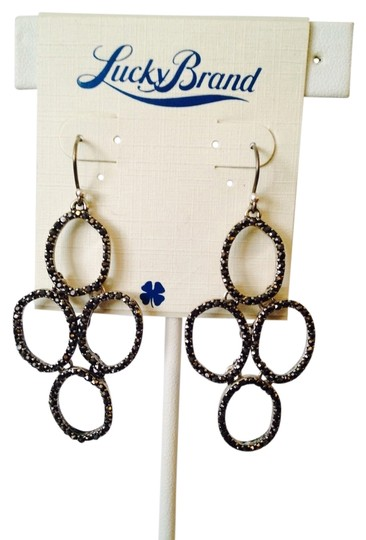 Lucky Brand NWT Silver Pave' Four Circle Earrings