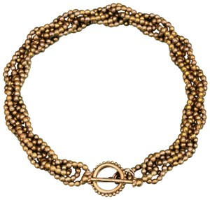 Stephen Dweck STEPHEN DWECK Twisted Braided Bronze Bead Necklace w Beaded Clasp