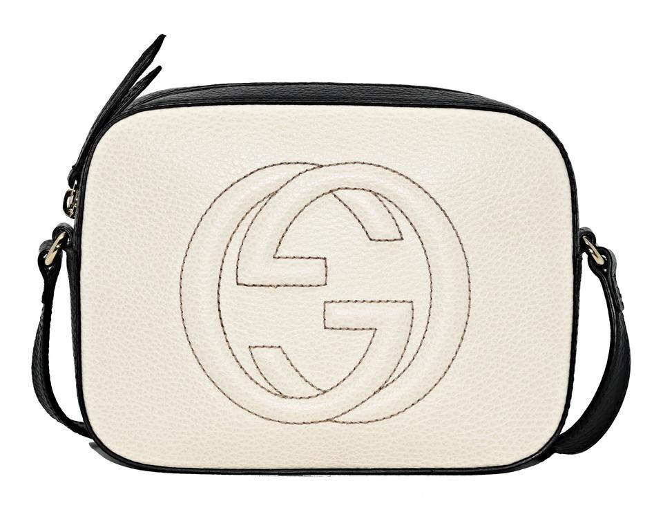 0a9764c15ae65f Gucci Disco Soho 431567 Textured-leather White and Black Leather Cross Body  Bag