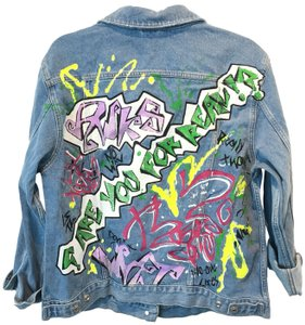 Topshop Jean Oversized Colorful Womens Jean Jacket
