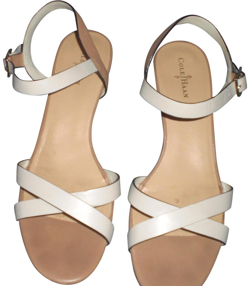 c195b29a5d07 Cole Haan White and Nude Check It Out Melrose Low Sandals Ivory ...