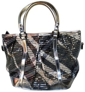 Burberry Leather Perforated Satchel in Silver/Gray
