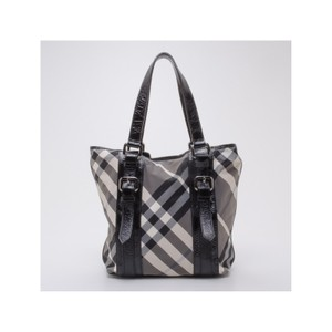 Burberry Lowry Check Tote in Grey and Black