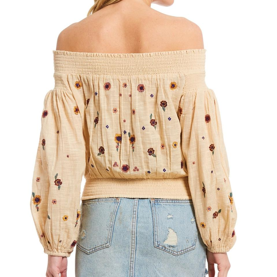 410e21c8307f8 Free People Neutral Saachi Smocked Off Shoulder Embroidered Blouse ...