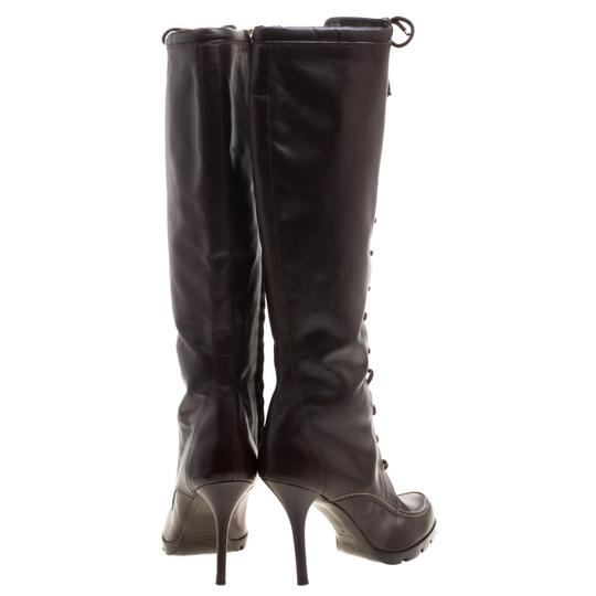 Dior Leather Knee High Brown Boots