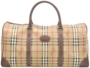 Burberry Boston Duffle Keepall Travel Gym Satchel in BEIGE