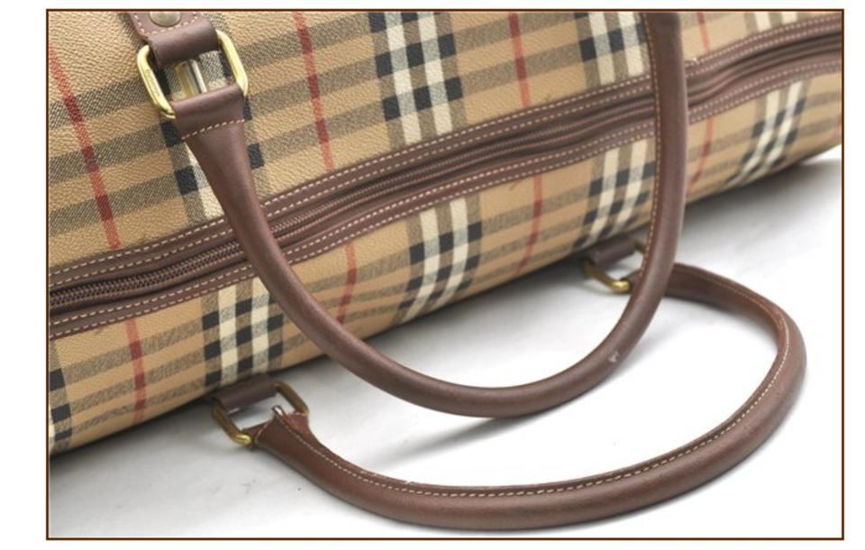 Burberry Nova Check Boston Duffle 866558 Beige Canvas Satchel - Tradesy 396745df8ec7b