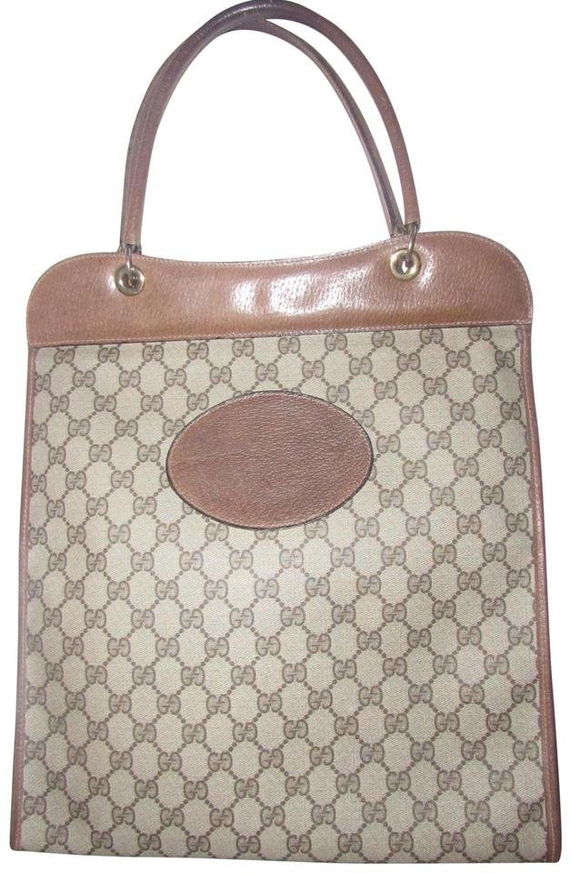 90048806e401 Gucci Mint Vintage Rare Early High-end Bohemian Supreme Or Shopper Tote in  brown large ...
