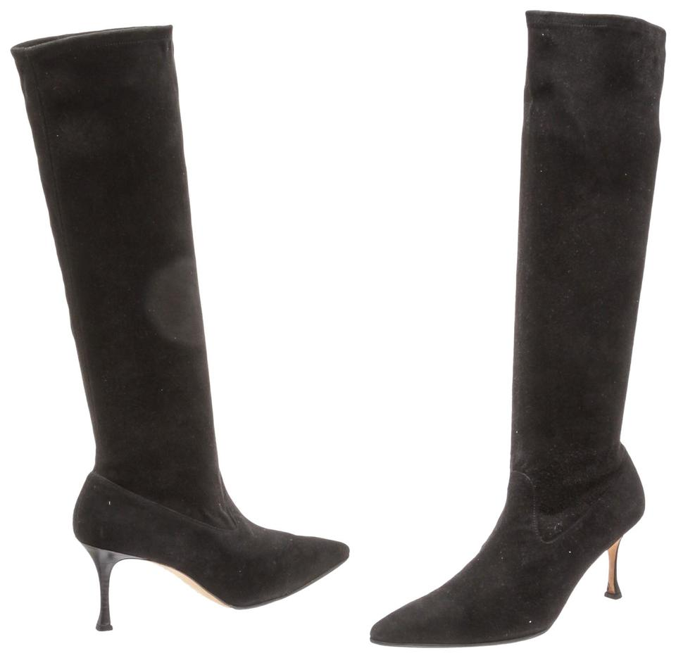 Manolo Knee Blahnik Black Suede Knee Manolo High 40) 481595 Boots/Booties ebede1