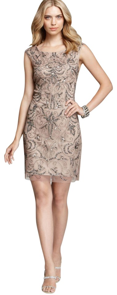 Adrianna Papell Buff Natural Beaded Mesh Sheath Short Cocktail Dress ...