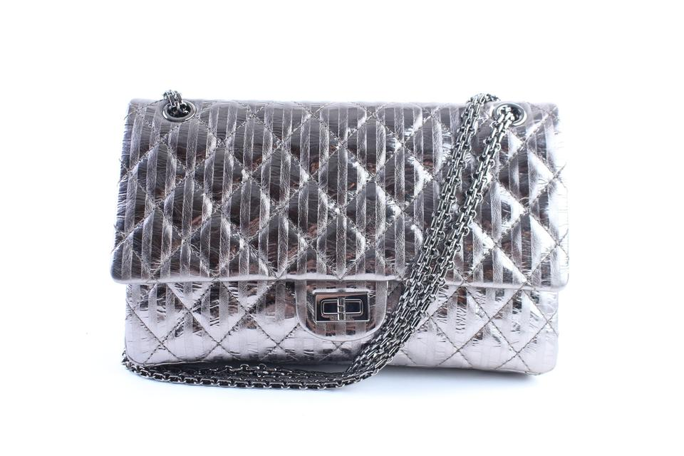 fe081ed8a2bc Chanel 2.55 Reissue Metallic Quilted Striped 227 Jumbo Flap 3cr0417 ...