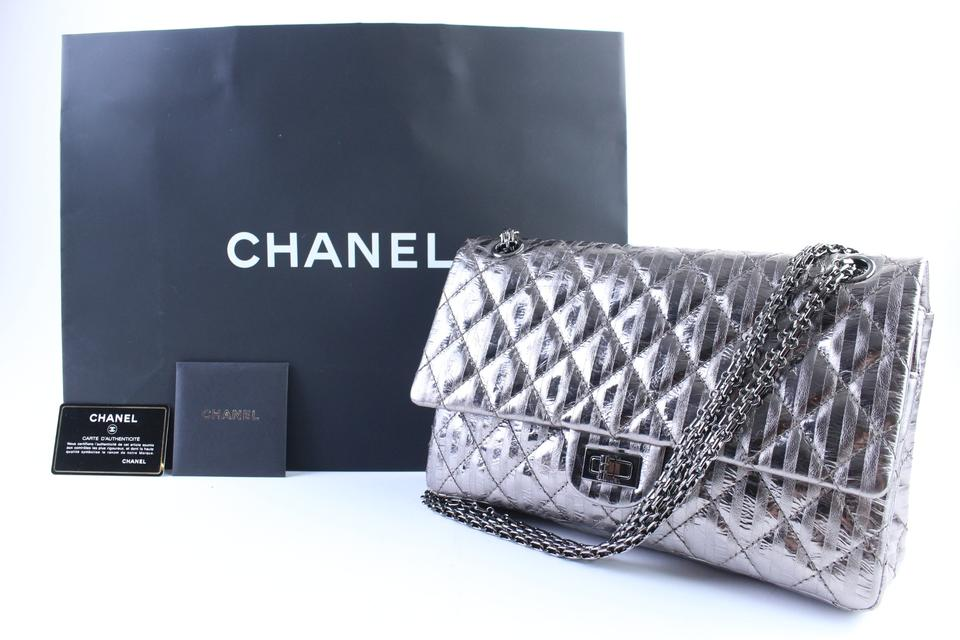 5b75c97d6925 Chanel 2.55 Reissue Metallic Quilted Striped 227 Jumbo Flap 3cr0417 ...