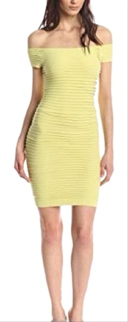 Item - Bright Lime XS Off Shoulder Textured Bodycon (Xs/S Extra Small/Small) Short Night Out Dress Size 2 (XS)